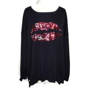 Bongo Sequin Lips Knit Long Sleeve Sweater 2X